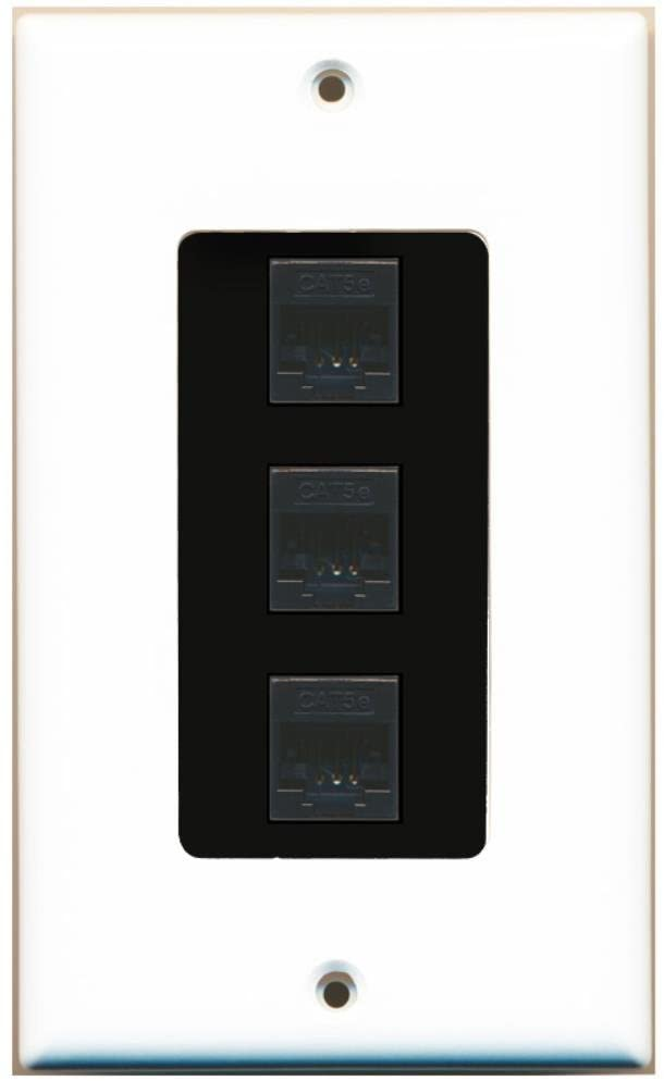 RiteAV Decorative 1 Gang 3 Port Cat5e Wall Plate - White/Black