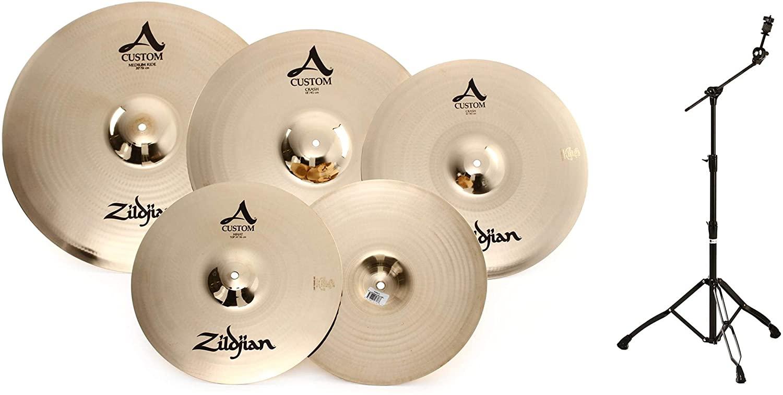 Mapex Armory Series Boom Cymbal Stand - Black Plated + Zildjian A Custom Box Set - 14