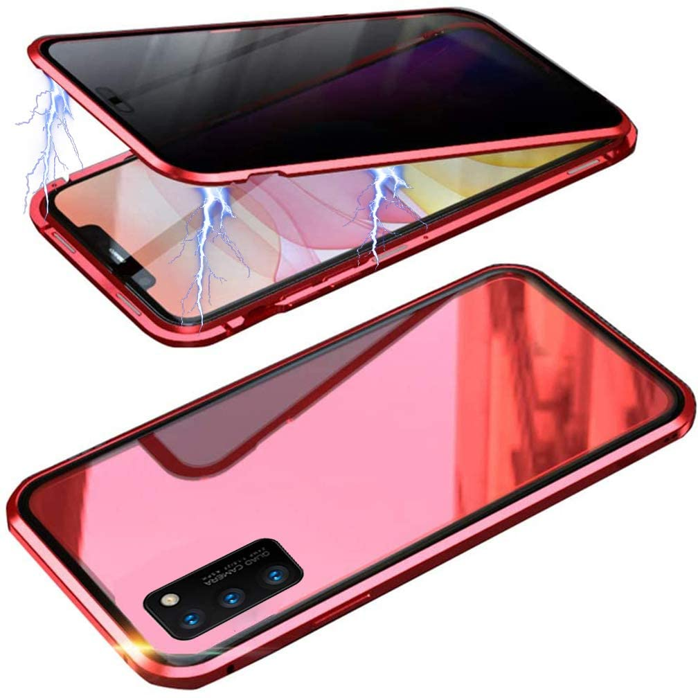 UMTITI Compatible Samsung Galaxy A71 Case, with Built-in Screen Protector Magnetic Clear Double-Sided Tempered Glass Anti-Spy Anti-Peeping Privacy Cover (Red)