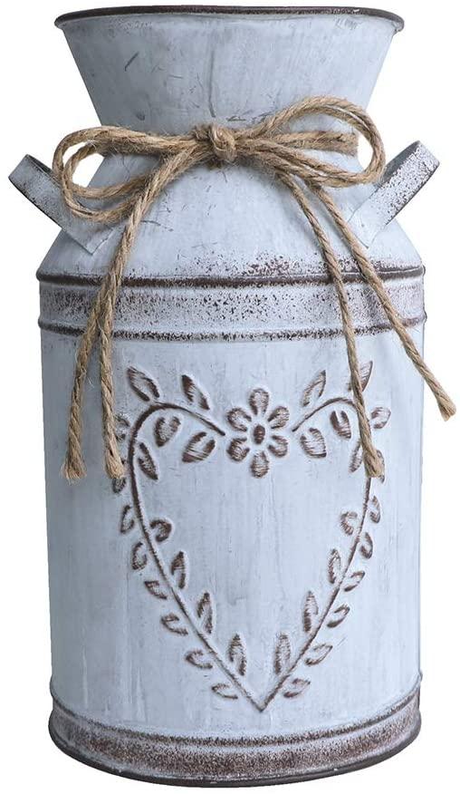 Uoisaiko Shabby Chic Rustic Vase Design Galvanized Milk Can, Decorative Metal Jug Pitcher Vase for Farmhouse Decor
