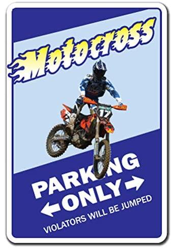 Motocross Sign Parking Dirt Dirty Bike Racing Helmet Biker Racer | Indoor/Outdoor | 12