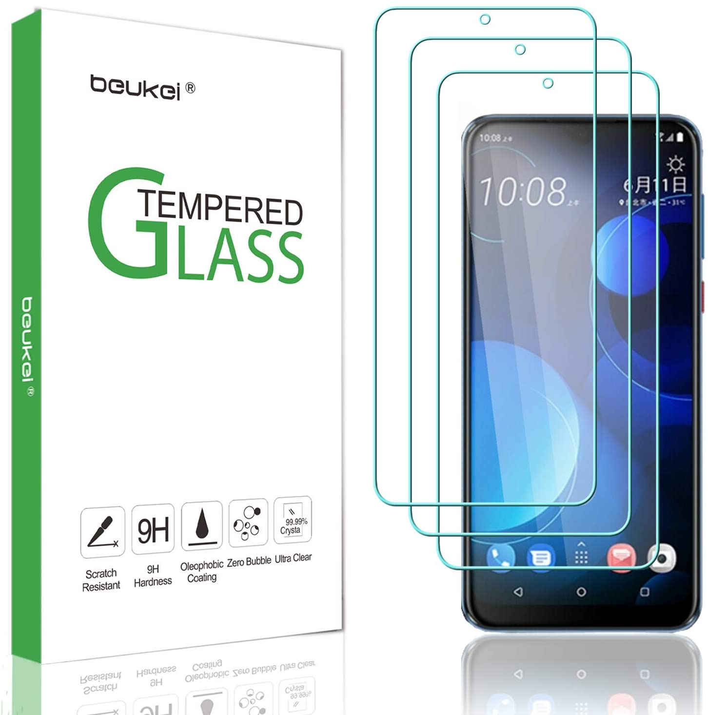 (3-Pack) Beukei for HTC (Desire 19s) and HTC (Desire 19 Plus) Screen Protector Tempered Glass, Anti Scratch, Bubble Free