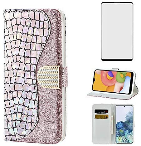 Glitter Wallet Phone Case for Samsung Galaxy S10 with Tempered Glass Screen Protector Cover and Cell Accessories Card Holder Slot Stand Flip Glaxay S 10 Edge Gaxaly 10S GS10 X10 Leather Cases Silver