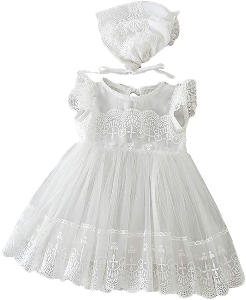 Christening Dresses for Baby Girl 2Pcs Set Lace Trim Baptism Gown and Bonnet for Special Occasion