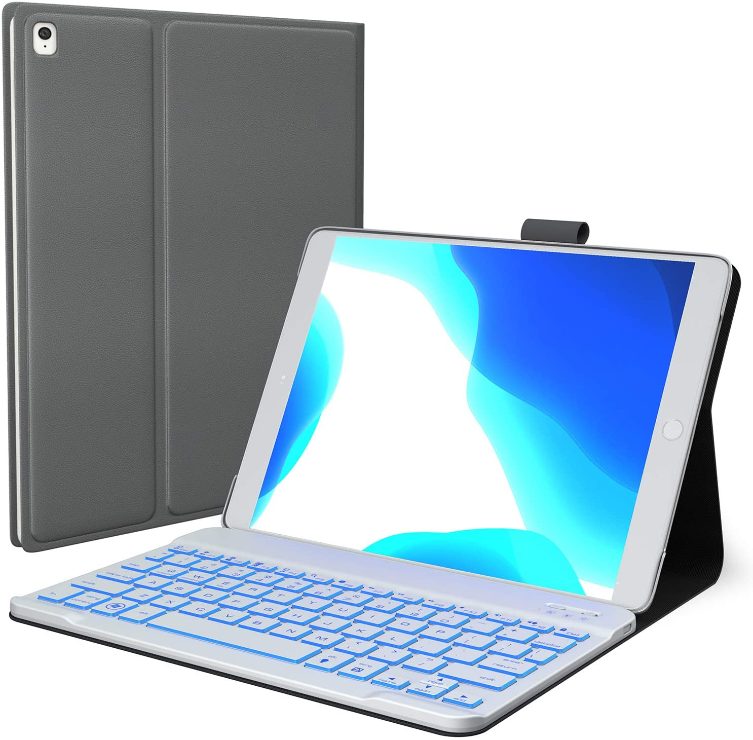 iPad 8th Generation Case with Keyboard, Compatible with iPad 10.2, iPad Air 3, iPad Pro 10.5 - Backlit, Wireless, Smart Keyboard Folio for Apple iPad - iPad 7th Generation Keyboard Case- Space Gray