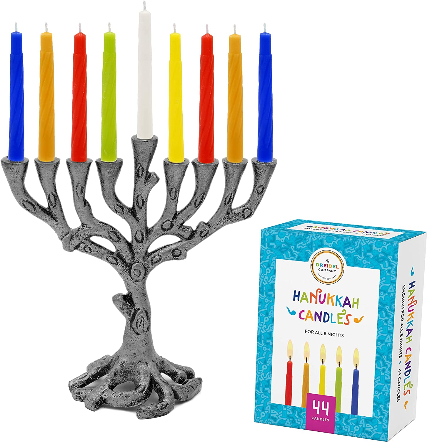 The Dreidel Company Menorah Tree of Life Mini, Pewter - Colored Candles for All 8 Days of Hanukkah Included! (Mini Tree of Life - Pewter/Multicolor)