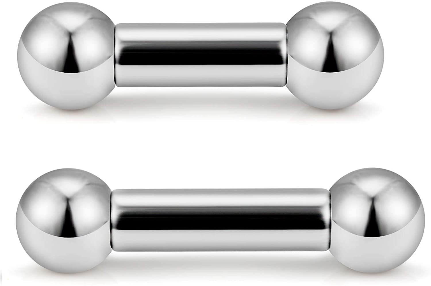 SCERRING 2-4PCS PA Ring Straight Barbell Internally Threaded Monster Screwball Rings 316L Surgical Steel Body Piercing Jewelry 2G 4G 6G 8G