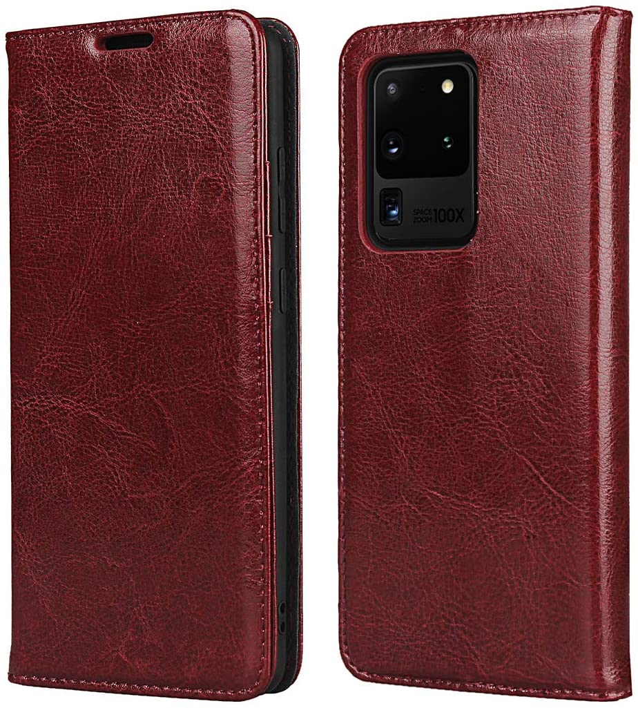 Cavor Samsung S20 Ultra Case, Genuine Leather Wallet Card Holder Case Flip Shockproof Cover for Samsung Galaxy S20 Ultra - Wine red