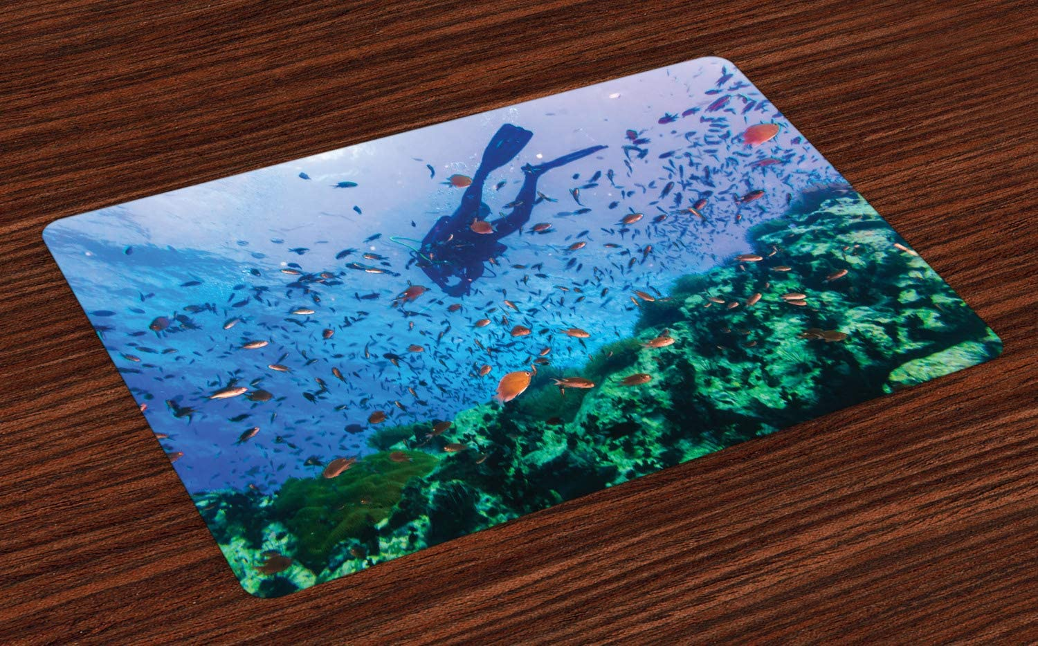 Lunarable Thai Place Mats Set of 4, Scuba Diver on Coral Reef in Clear Blue Water Tiny Tropical Fishes Biodiversity Theme, Washable Fabric Placemats for Dining Room Kitchen Table Decor, Multicolor