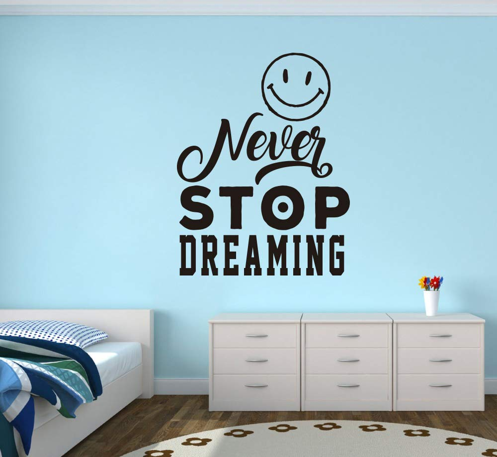 Quote Wall Decal - Never Stop Dreaming Wall Decal Vinyl Sticker Nursery for Home Bedroom Children