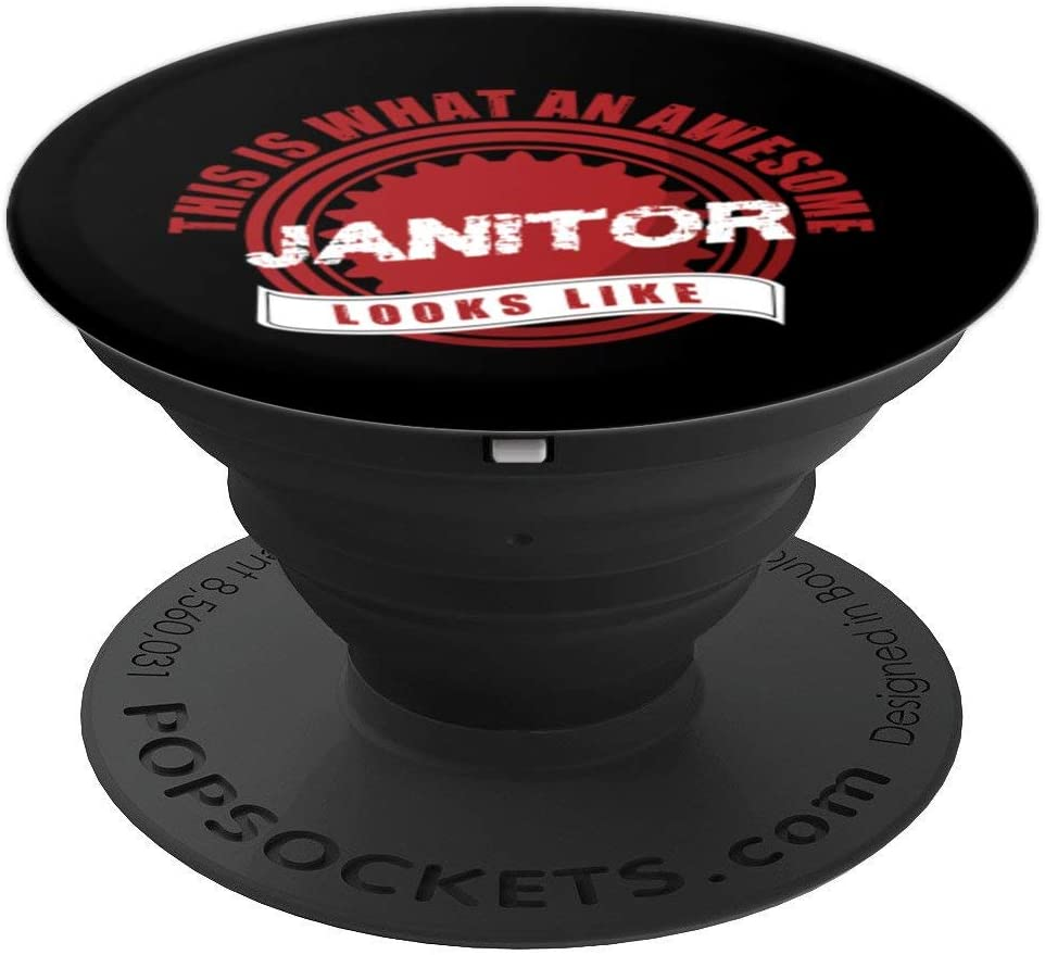 Janitor Awesome Worker Cleaner Caretaker Housekeeper Gift PopSockets Grip and Stand for Phones and Tablets