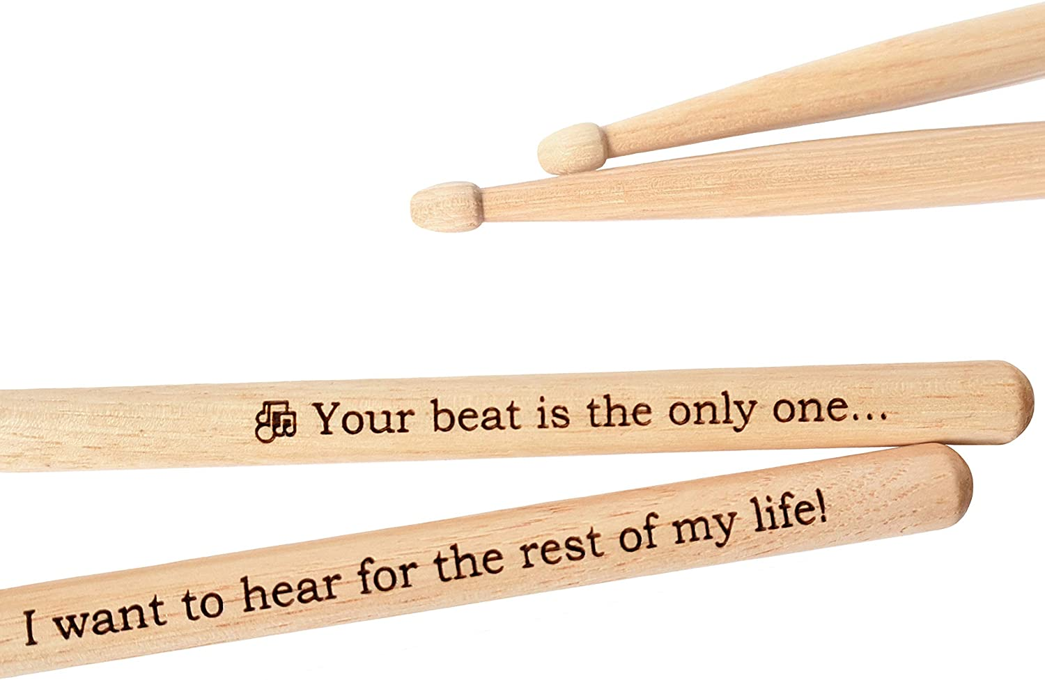 Engraved Drumsticks Wooden Drum Sticks 1 PAIR Gift for Drummer Men Musician Wedding Groomsman Great Gift Idea for Boyfriend Husband Valentine's Day Gift Sign Natural Hickory Wood (Your Beat)