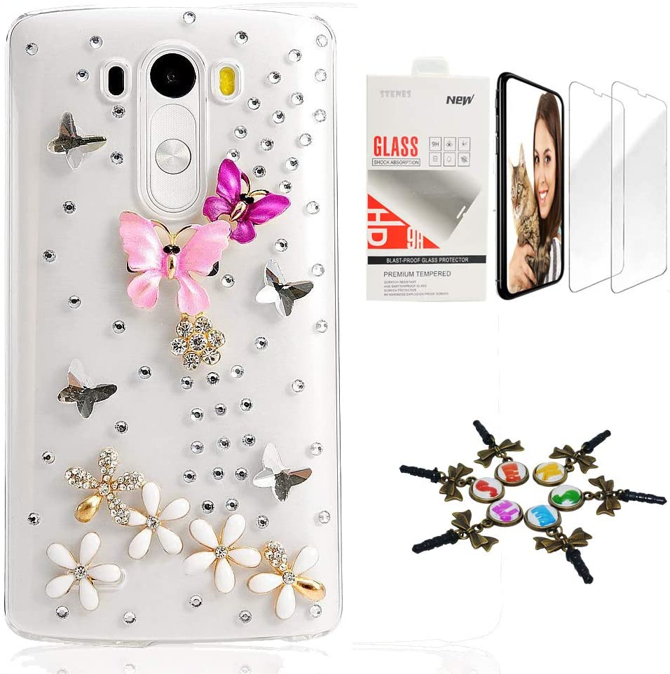 STENES Bling Case Compatible with LG G7 ThinQ - Stylish - 3D Handmade [Sparkle Series] Dance Butterfly Flowers Design Cover with Screen Protector [2 Pack] - Colorful