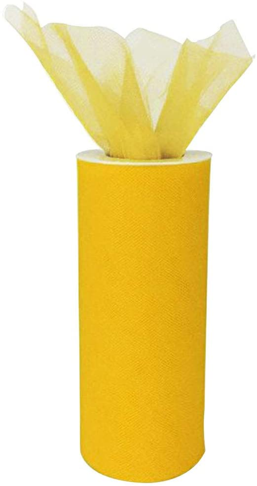 Just Artifacts Decorative Tulle Fabric Roll 6-Inch x 25-Yards (Color, Yellow)