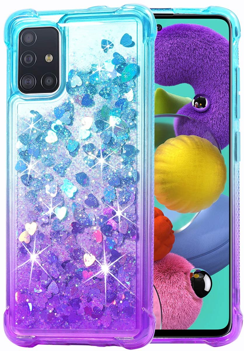 Flocute Galaxy A51 Case, Galaxy A51 Glitter Case Gradient Bling Sparkle Floating Liquid Soft TPU Cushion Luxury Fashion Girly Women Cute Case for Samsung Galaxy A51 (Teal Purple)