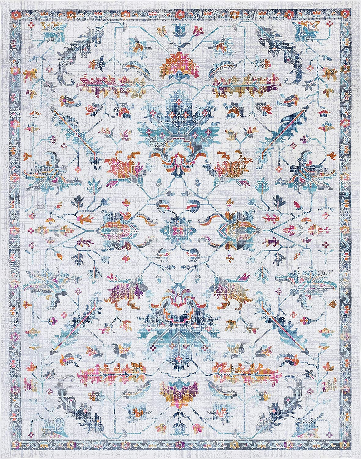 Rugs.com Budapest Collection Area Rug – 9X12 Ivory Low-Pile Rug Perfect for Living Rooms, Large Dining Rooms, Open Floorplans