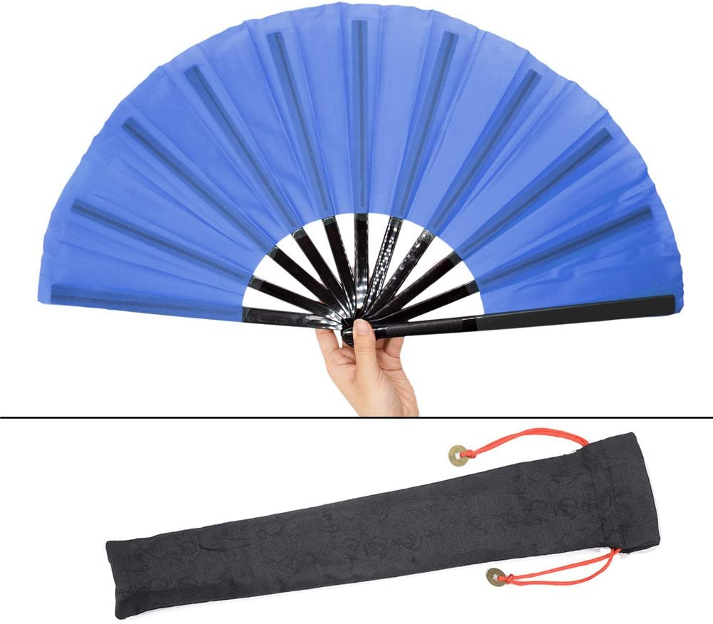 Leehome 13''(33cm) The Tai Chi/Kung Fu Hand Held Folding Fans- Chinese/Spanish/Japanese Vintage Retro Fabric Fans for Men Or Women (Blue)