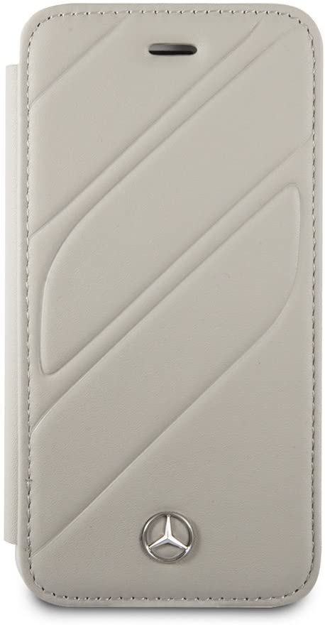 CG Mobile Mercedes-Benz Wallet Case for iPhone SE (2020) iPhone 8 and iPhone 7 Real Leather Hard Case Gray Easy Snap-on Shock Absorption Cover Officially Licensed.