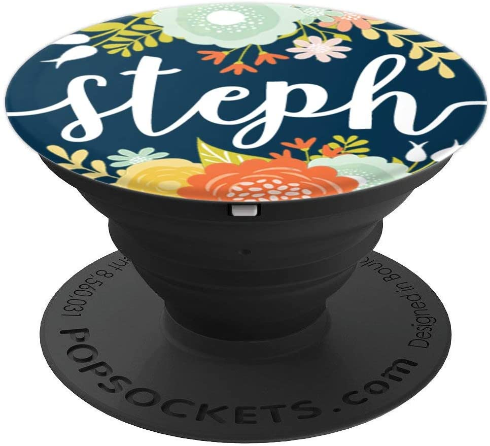 First Name Steph & Mint Flowers on Navy Blue PACH288 PopSockets Grip and Stand for Phones and Tablets