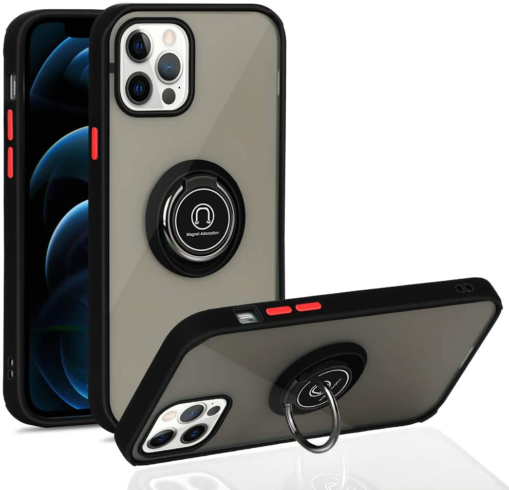 iPhone 12 Case, iPhone 12 Pro Case with Ring 6.1 inch, Anti-Scratch Case with 360 Degree Rotation Finger Ring Kickstand Work with Magnetic Car Mount Compatible for iPhone 12/12 Pro 2020 - Black