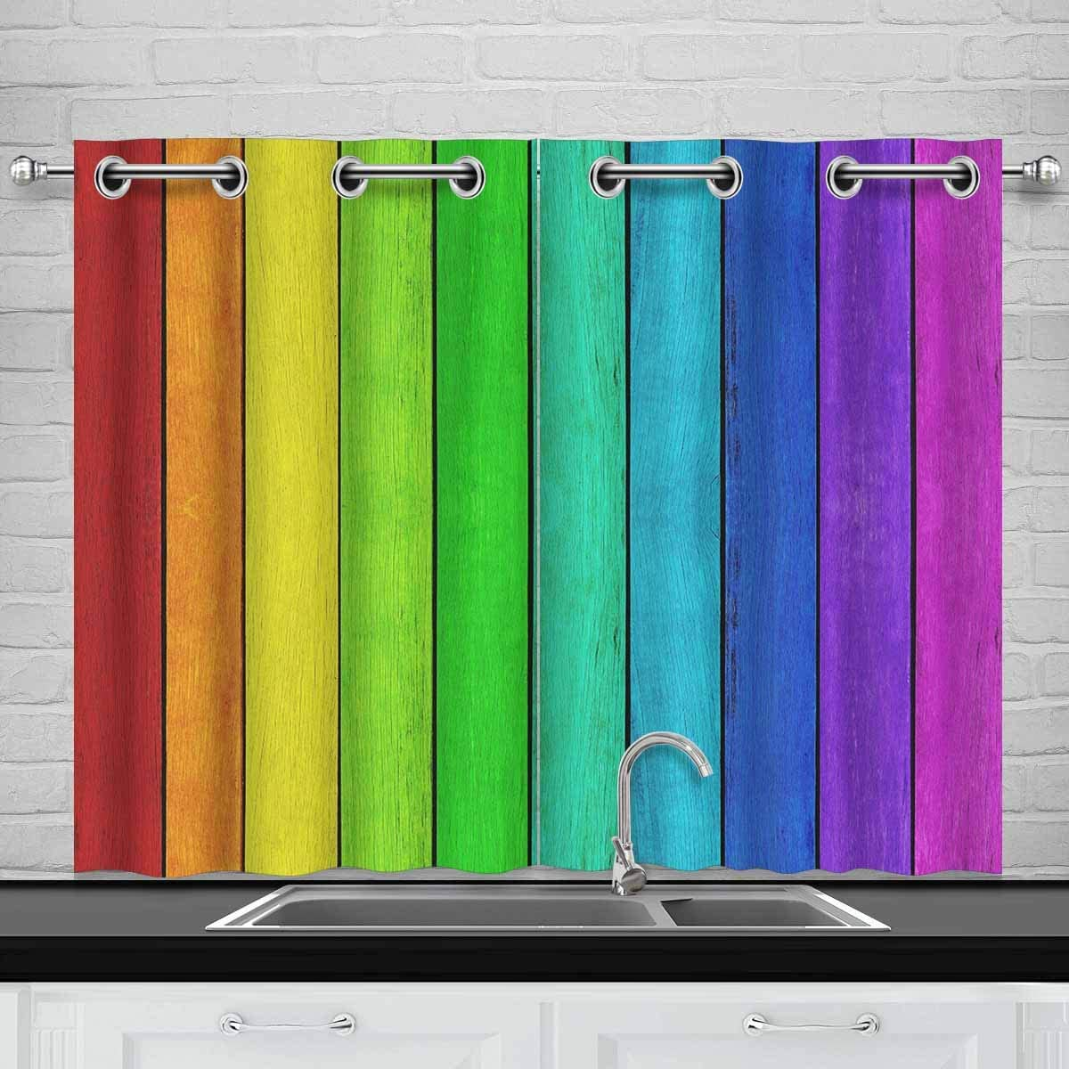 InterestPrint Empty Rainbow Colored Wood Background Blackout Window Curtain Panels Darkening Window Curtain for Living Room Bedroom, 30W x 45L, 2 Panels
