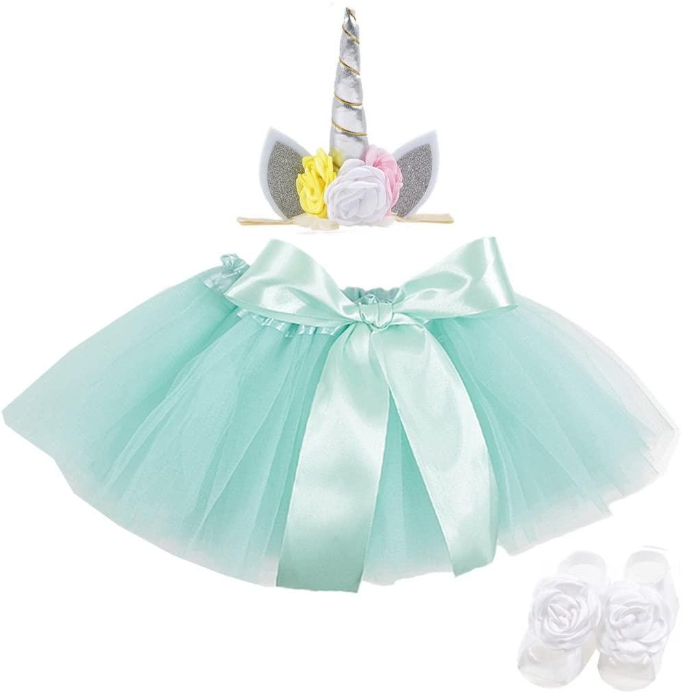 Lujuny Litter Girl Tutu Dress Horny Decor Headband Flower Foot Shoes Barefoot Sandal Set (Green Silver)