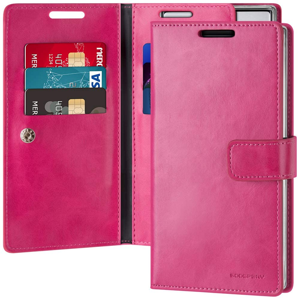 Goospery Mansoor Wallet for Samsung Galaxy Note 10 Case (2019) Double Sided Card Holder Flip Cover (Hot Pink) NT10-MAN-HPNK