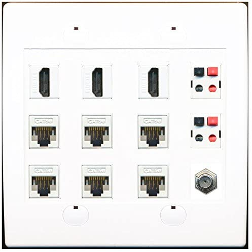 RiteAV 6 Cat5e Ethernet 3 HDMI 2 Speaker 1 Coax Wall Plate
