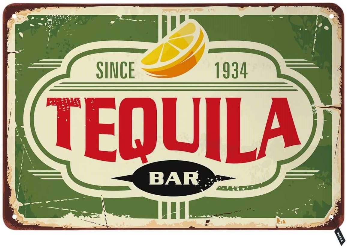 Swono Tequila Bar Tin Signs,Vintage Metal Tin Sign for Men Women,Wall Decor for Bars,Restaurants,Cafes Pubs,12x8 Inch
