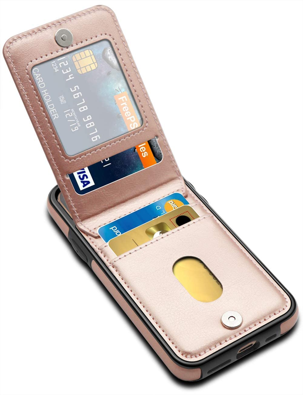 LakiBeibi iPhone 11 Pro Case, Dual Layer Lightweight Premium Leather iPhone 11 Pro Wallet Case with Card Holders for Women Magnetic Lock Flip Phone Case for iPhone 11 Pro 2019 5.8 Inches, Rose Gold