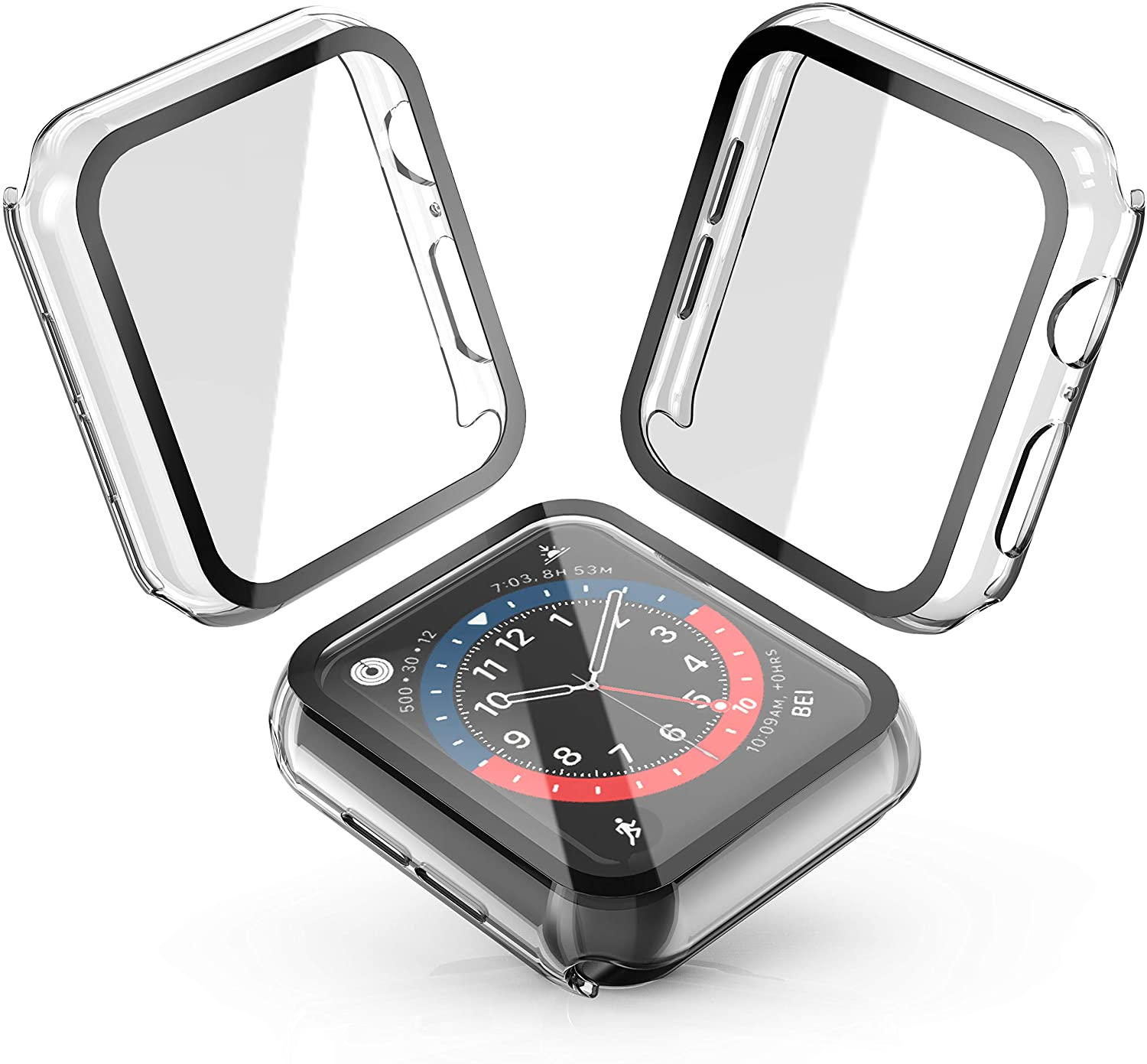 Julk Hard Case for Apple Watch Series 6 / SE/Series 5 / Series 4 40mm, 2020 New iWatch PC Overall Protective Cover with Slim Tempered Glass Screen Protector (2-Pack Transparent)