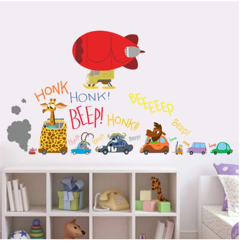 Wall Stickers Zootopia Cartoon Wall Stickers Animal Drive Car Aircraft Wall Sticker for Kids Rooms Decals Nick Fox Rabbit Gifts 6030CM
