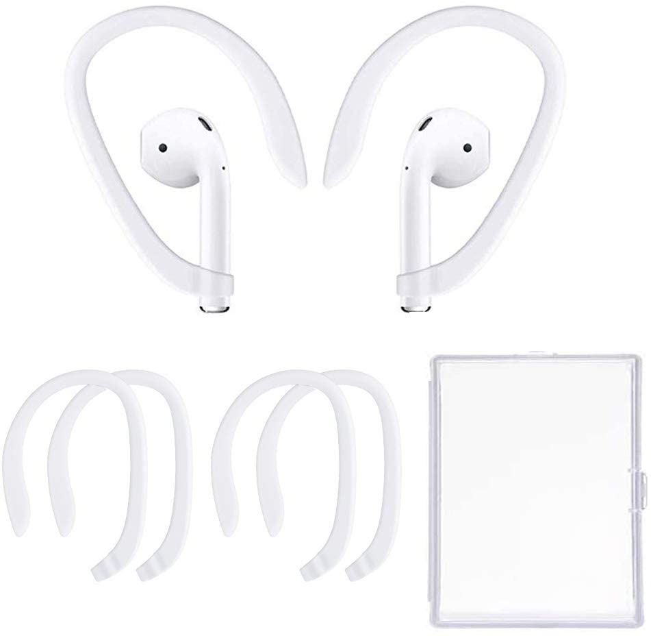 2 Pairs Ear Hooks Accessories Compatible with Apple AirPods 1&2 and Pro Sports Headset EarHooks Great with Cycling,Gym,Dancing,Running,Fishing and Other Sports (White)