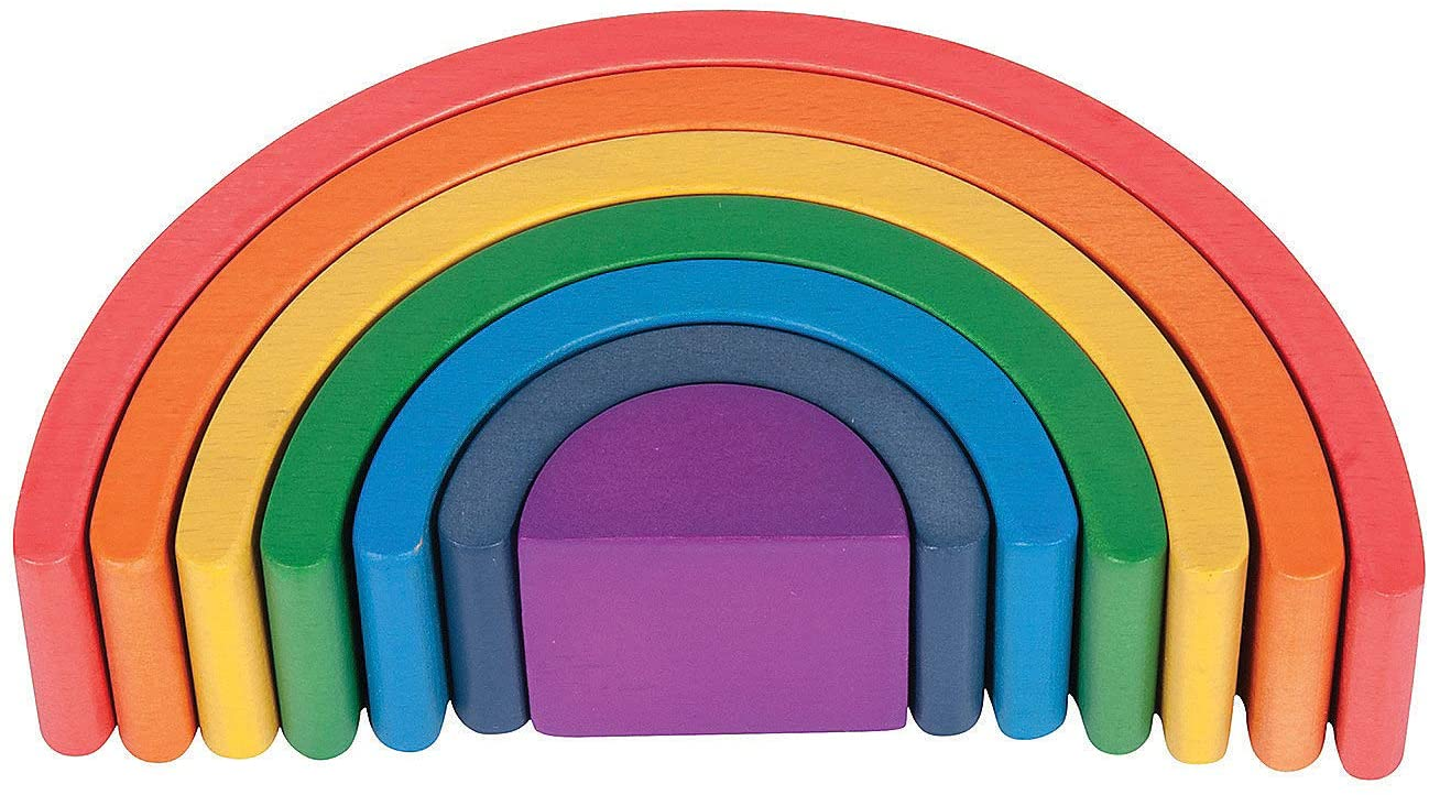 Fun Express Wooden Rainbow Architect Arches - 7 Pieces - Educational and Learning Activities for Kids