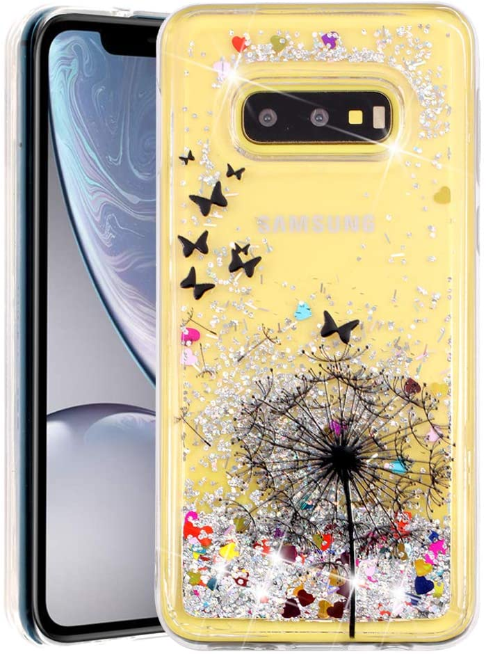 MRSTERUS Galaxy S10E case Sparkling Floating Flashing Liquid Quicksand Clear and Soft TPU Silicone Shockproof Protection Bumper Thin Cover for Galaxy S10E Dandelion XYL