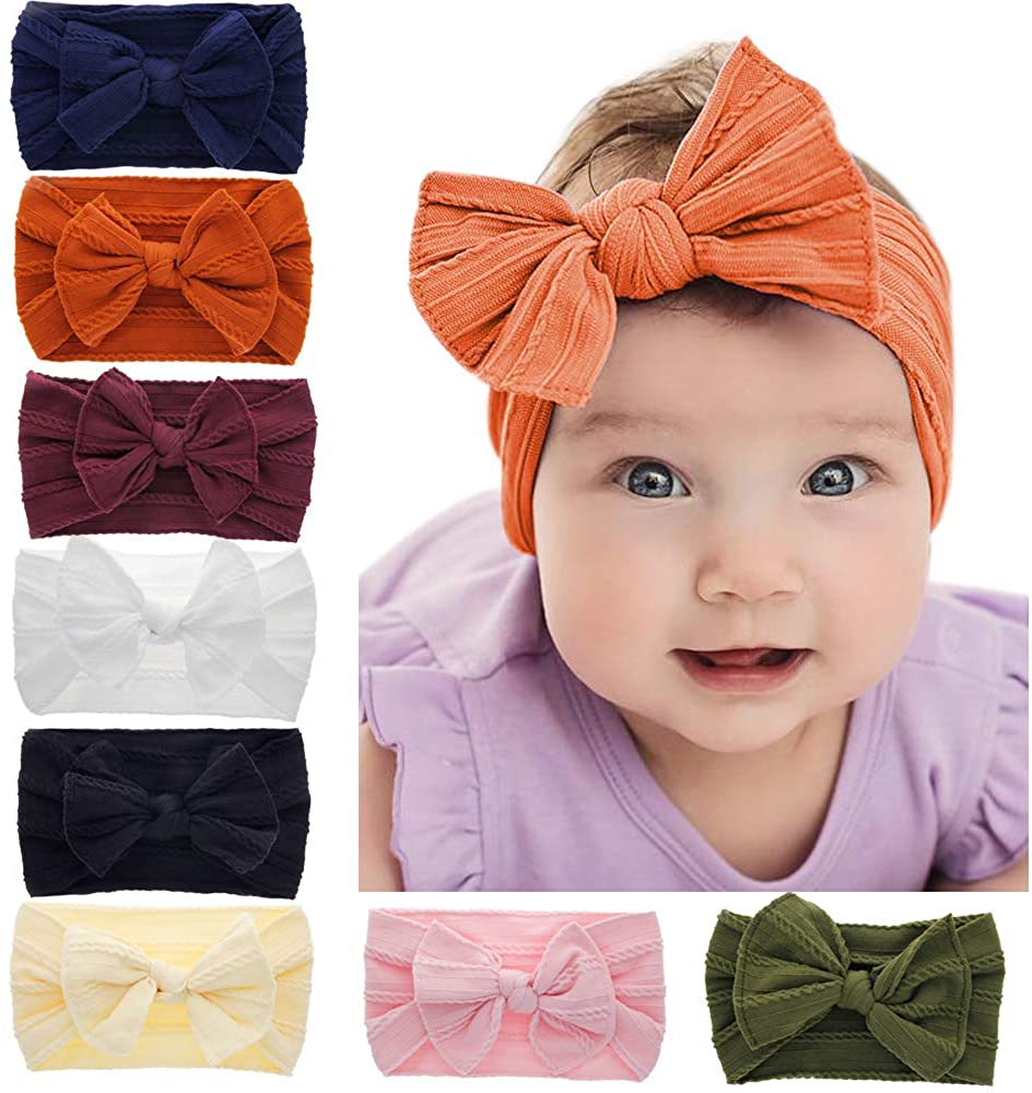 Baby Nylon Knotted Headbands Girls Head Wraps Infant Toddler Hairbands and Bows