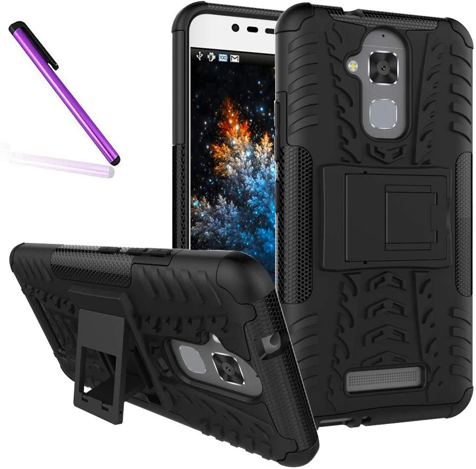 COTDINFORCA Case for Zenfone 3 Max Tyre Pattern Design Heavy Duty Tough Protection Case with Kickstand Shock Absorbing Detachable 2 in 1 Case Cover for Asus Zenfone 3 Max ZC520TL. Hyun Black
