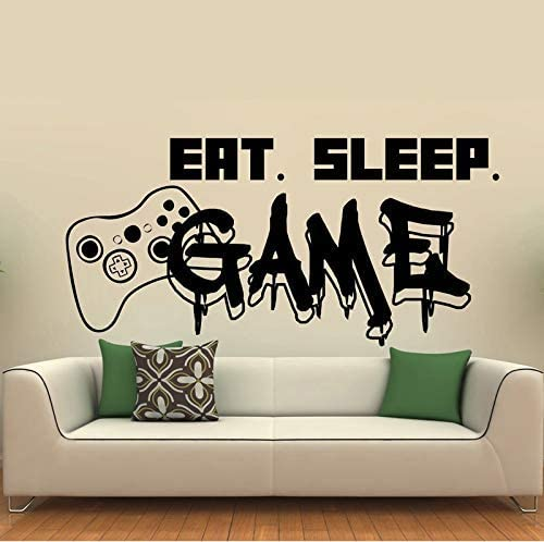 xmksd Gamer Wall Decal Eat Sleep Game Controller Video Game Wall Decals for Kids Bedroom Vinyl Wall Art Decals 42 88Cm