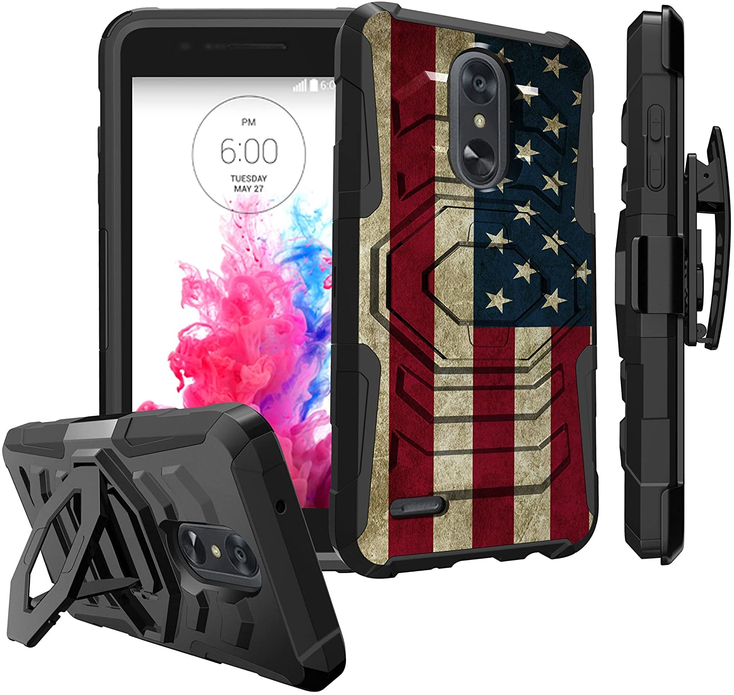 Untouchble Case for LG Rebel 3 LTE, LG Aristo 2 Case, LG Tribute Dynasty Case [Max Alpha Holster]- [Swivel Holster] Heavy Duty Dual Layer Hybrid Case Kickstand and Belt Clip - Vintage America Flag