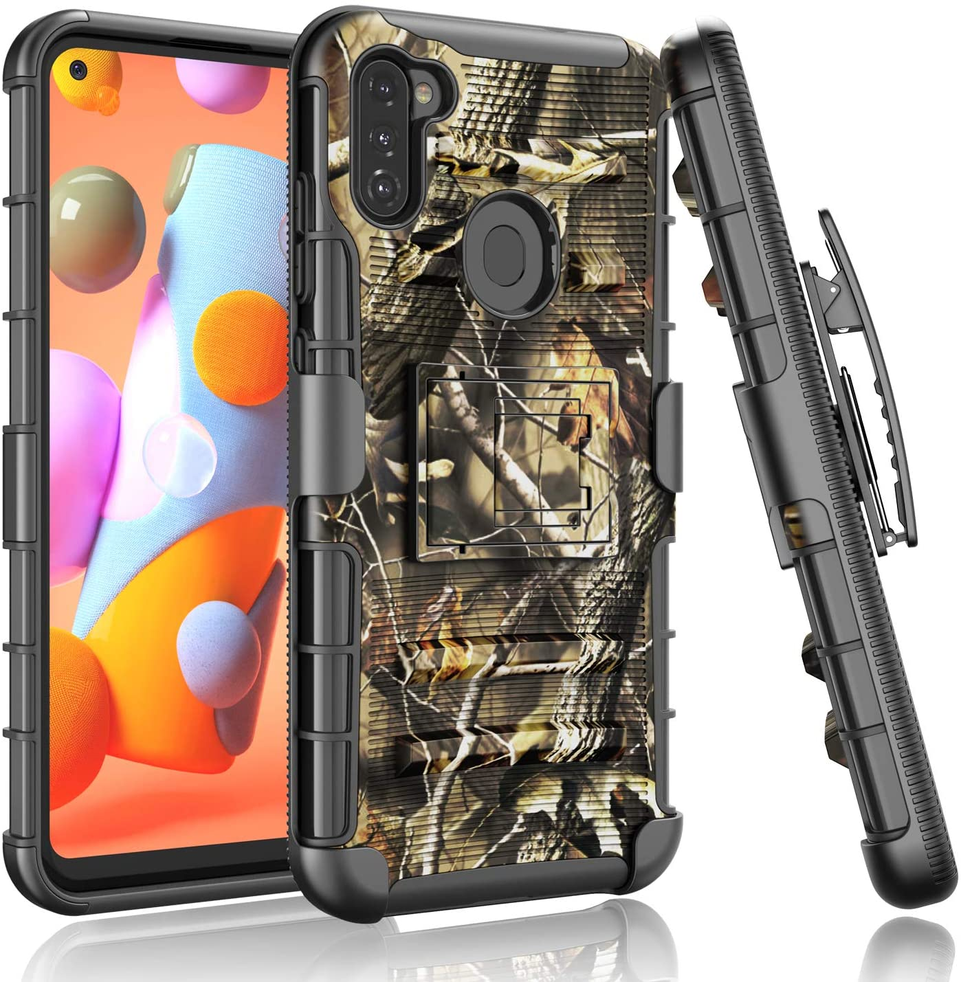 Galaxy A11 Case, Takfox Phone Case for Samsung Galaxy A11 Belt Clip Holster [Kickstand] Heavy Duty Shockproof Rugged Armor Hard Shell Full Protection Cover for Samsung Galaxy A11 2020-Yellow Branch