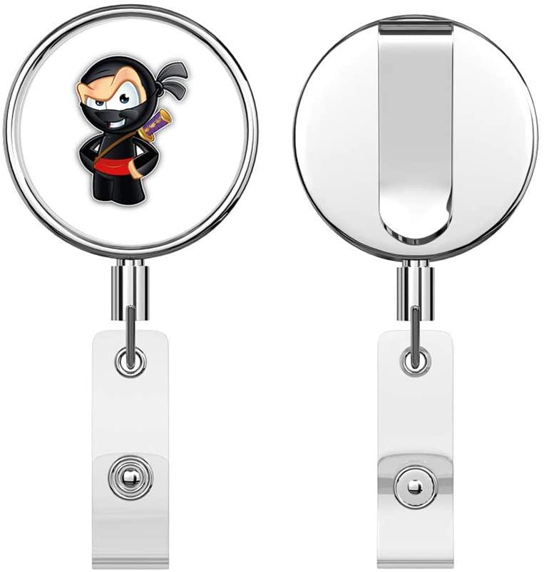 Little Ninja Kid Retractable Reel Chrome Metal Badge ID Card Holder Clip