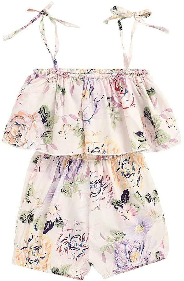 Ywoow Girls with Floral Print Off-Shoulder Strap Short-Sleeved Blouse and Shorts Two-Piece Set Girl Flowers and Plants Pattern Camisole Halter Tops Jacket