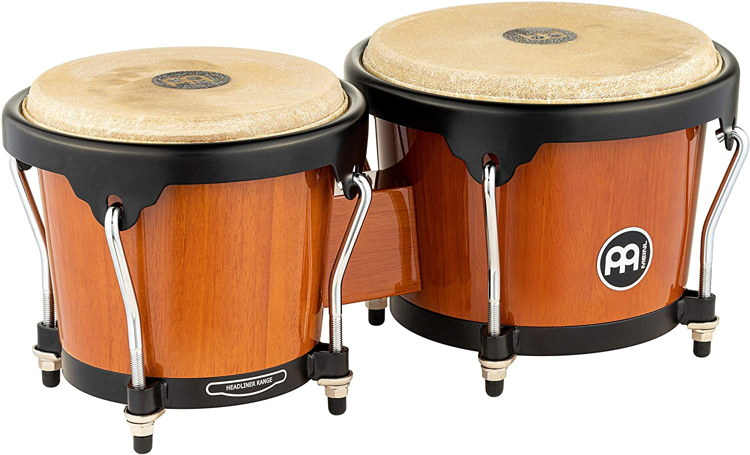 Meinl Percussion Bongos with Rubberwood Stave Shells — NOT MADE IN CHINA — Natural Buffalo Skin Heads, 2-YEAR WARRANTY, Maple, inch (HB100MA)