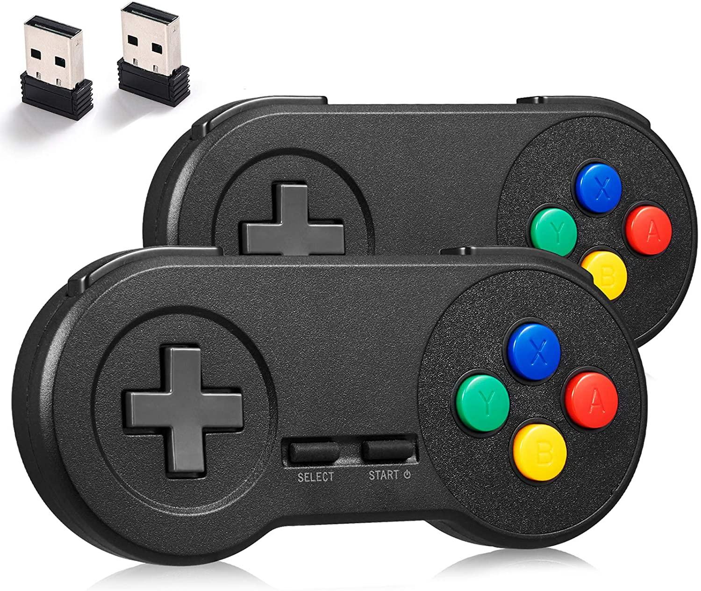 miadore 2Pack 2.4GHZ Wireless SNES Controller for SNES/NES Classic PC Games,Rechargeable USB Controller Wireless Game Controller Gamepad for Windows PC MAC Linux Raspberry Pi Retropie Emulator (Black)