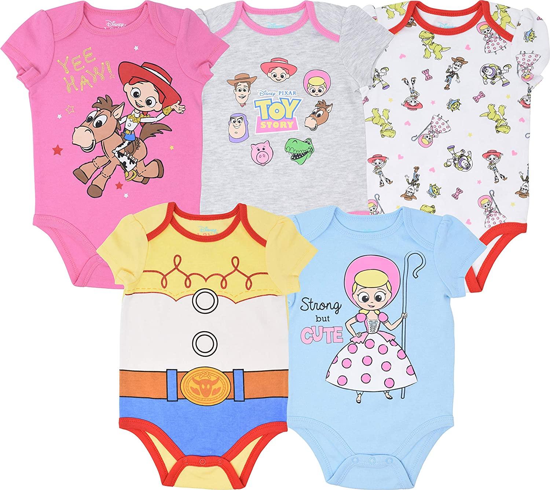 Disney Toy Story Baby Girls 5 Pack Bodysuits Jessie Bo Peep Buzz Woody