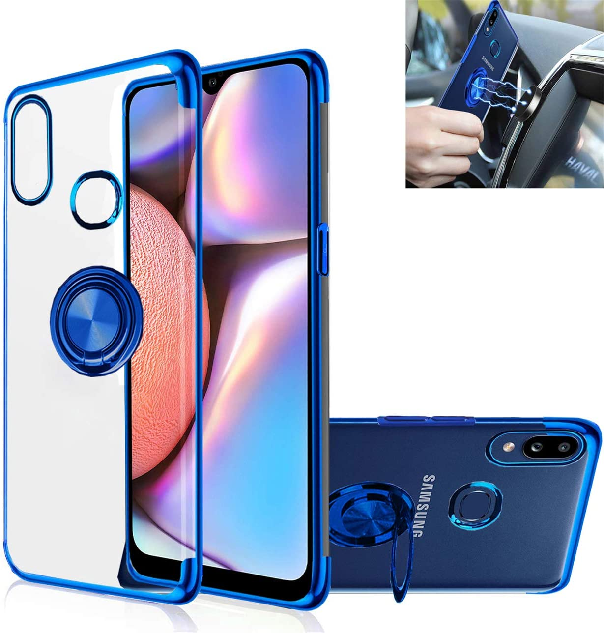 GarHold Galaxy A10s case,Clear Silicone TPU,360° Ring Kickstand,Electroplated Metal Technology case,Shockproof Protection Thin Transparent Cover for Samsung Galaxy A10s (Blue)