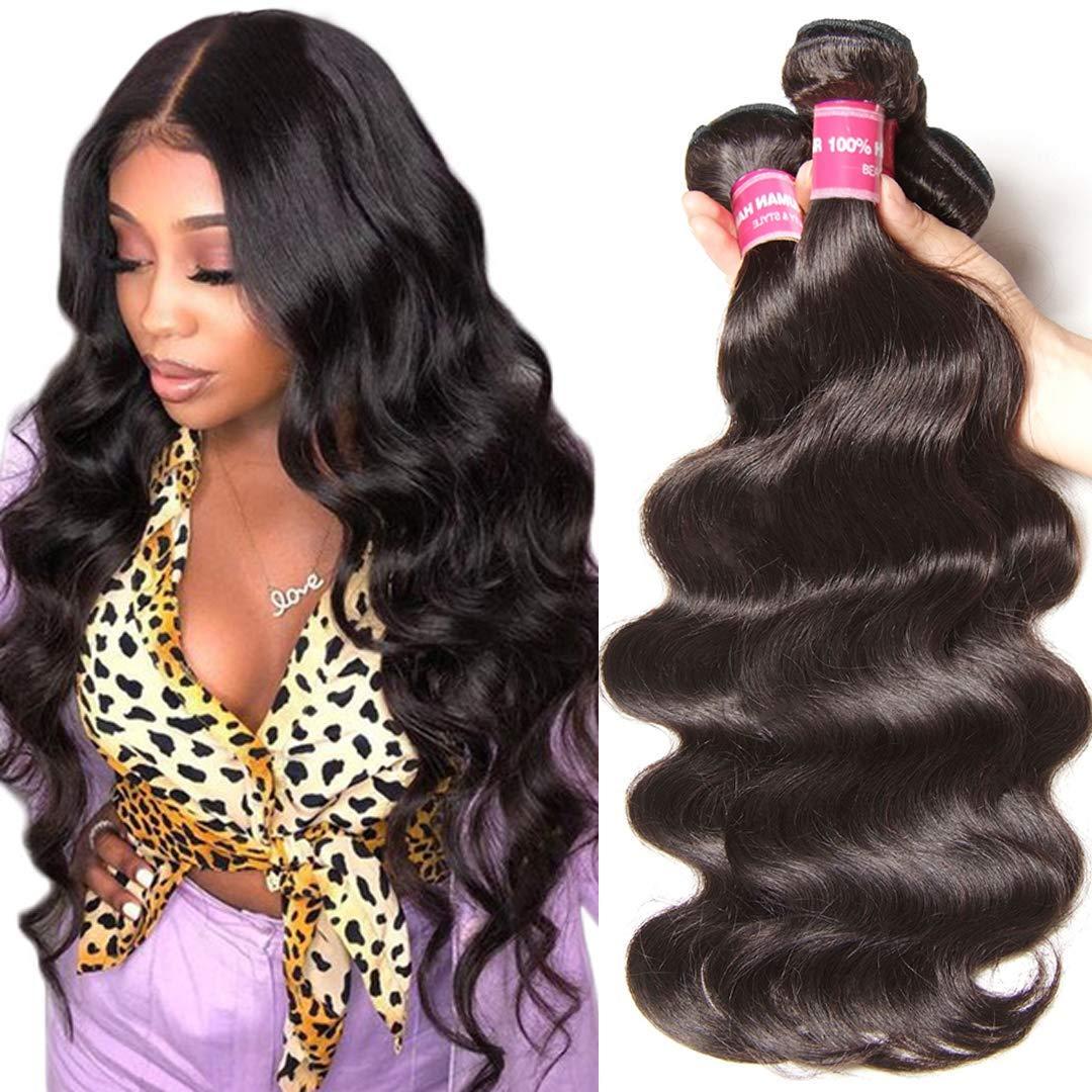 Sunber Brazilian Hair Body wave 3 bundles 10A Grade 100% Virgin Unprocessed Human Hair Weave 95-100g/bundle (10 12 14inch, Natural Black Color)