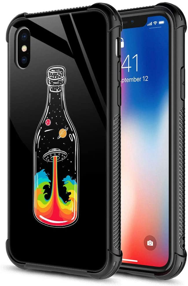 iPhone XR Case,Milky Way Glass Bottle Color iPhone XR Cases for Girls Boys,9H Tempered Glass Graphic Design Shockproof Anti-Scratch Tempered Glass Case for Apple iPhone XR