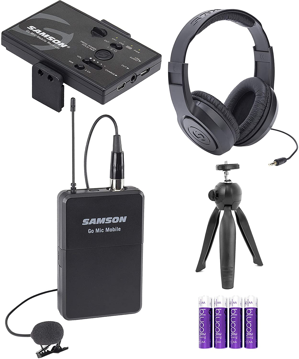 Samson Go Mic Mobile Professional Lavalier Wireless System Bundle with Table Top Camera Tripod, SR350 Over Ear Stereo Headphones, and Blucoil 4 AA Batteries