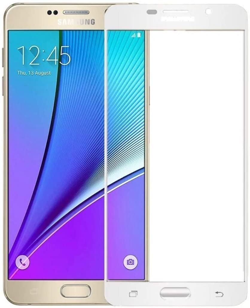Silk Print Screen Tempered Glass Protector for Samsung Galaxy J3 2017 / J5 2017 / J7 2017,Screen Protector,9H Hardness Explosion-Proof Anti-Fingerprint High Definition.(2 Pack) (White,J5 2017)